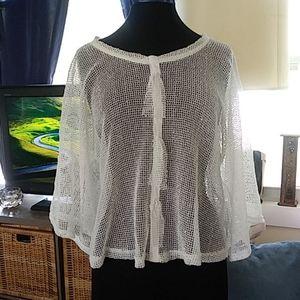 Noelle white sparkly mesh net swim cover up